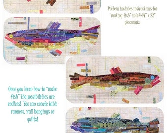 Fiberworks Laura Heine Collage MAKING FISH Salmon Trout Fish Pattern 14 x 22