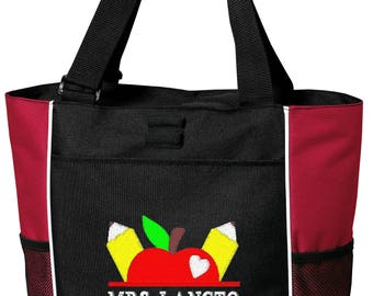 Free Shipping - Personalized Teacher Tote Bag - More Colors - monogrammed School Apple Books Gift Custom
