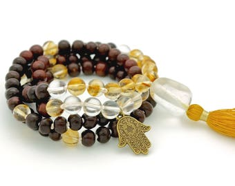 Rosewood, Quartz & Citrine Mala, hand-made silk tassel, 108 bead, knotted on silk