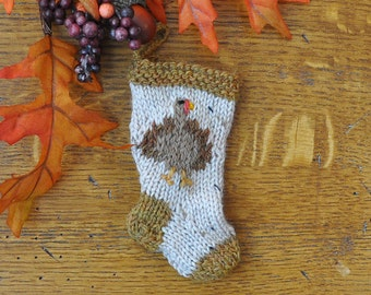 Turkey Hand-Knit Christmas Stocking Ornament - Thanksgiving Turkey  *Available to Order*