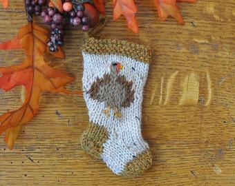 Turkey Hand-Knit Christmas Stocking Ornament - Thanksgiving Turkey
