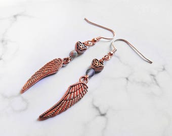 Clearance -Celtic Heart and Feather Dangle Earrings