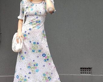 70s Shirred Bodice Maxi Dress by JET-LAG 6-8au