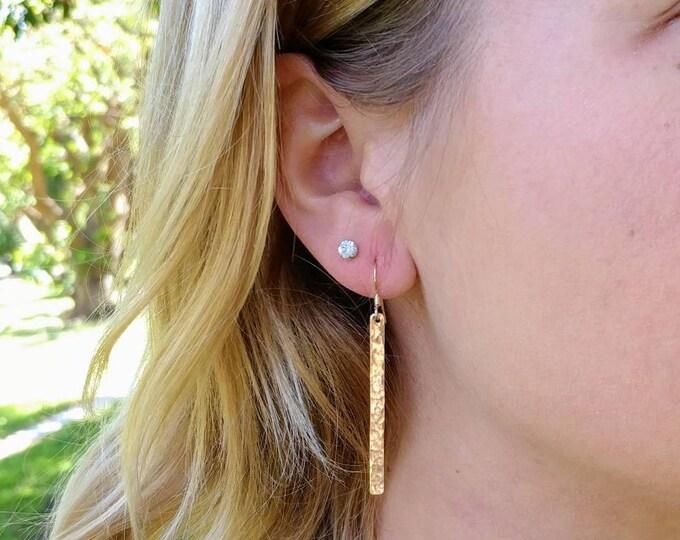 """Long Hammered Bar Earrings, Gold Bar Earrings, Simple Earrings, Dangle Earrings, Gold Fill, Long Earrings 1.5"""""""
