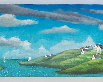 Landscape painting, seaside, seascape, nautical home decor, wall hanging, painting, ocean