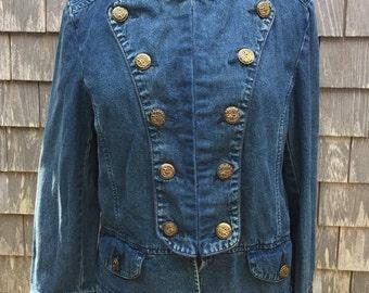 Vintage Carole Little Military Style Woman's Denim Coat, Size 12