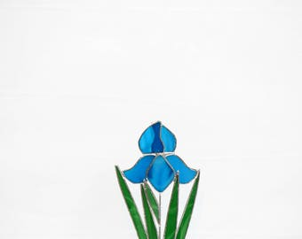 Stained Glass Blue Iris Suncatcher, Made in USA, Mother's Day Gift, Stained Glass Flower,Original, 9 1/2 x 4, Home Decor, In Full Bloom