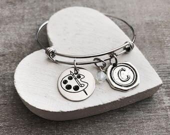 Artist, Palette, Painting, Painter, Paintbrush, Art Teacher, Artist jewelry, Artist Bracelet, Silver Bracelet, Charm Bracelet, GIFTS FOR