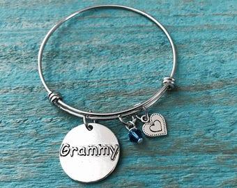 GRAMMY JEWELRY Silver bracelet, Charm Bracelet, Grammy Gift, Grammy Bracelet, Grammy, Adjustable, Expandable, Bangle Bracelet, Gifts for