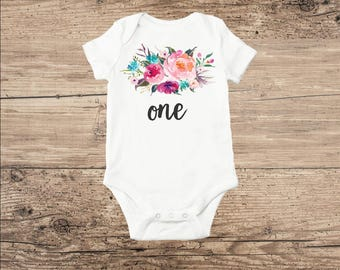 First Birthday Baby Clothes, Flowers with One