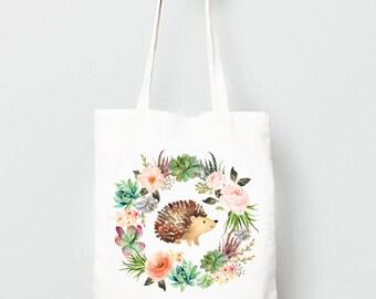 Kids Tote Bag, Hedgehog in Boho Wreath