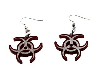 DSF Biohazard Acrylic Charm Earings - Industrial EBM Cyber Goth Apocolypse Bio Plastic Light Weight CLub Wear Gear Dark red Black 5490