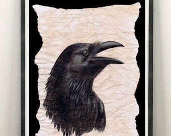 1 signed Print Ravenfriend: Raven / Bird / Corvus Corax / Fantasy / Nice decoration, magical gift for family/ friends / Home