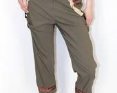 Pretty Disturbia Hipster Punk Ribbon Buckle Fitted Green Trousers