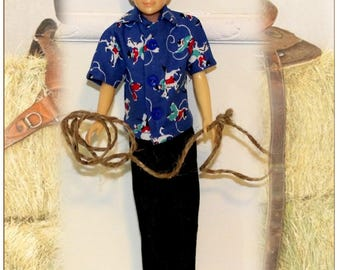 50's Style Bucking Bronco Clothes fit Vintage Stacie's  Friend Ricky. (Clothes only, Ricky Doll not included) Shirt, Jeans & Lasso Rope