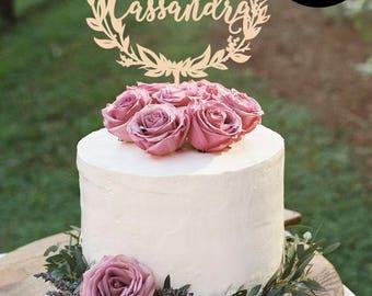 Custom Wedding Cake Topper,  Floral Wreath Wedding Cake Topper, Mr and Mrs Cake Topper Gold, Glitter Cake Topper, Silver Cake topper