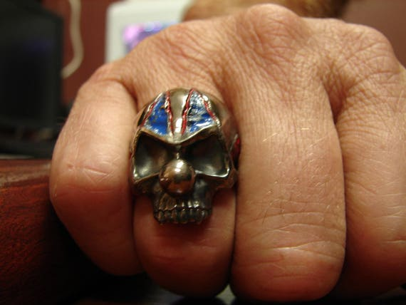 Argentium silver clown skull ring. Biker ring. Rocker ring. Skull, skeleton. Whatever you want to call it, it's a BA ring!