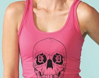 detroit skull women's tank top