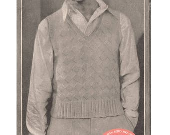 1930's Tennis - Badminton Pullover Vintage Knitting Pattern - PDF Instant Download