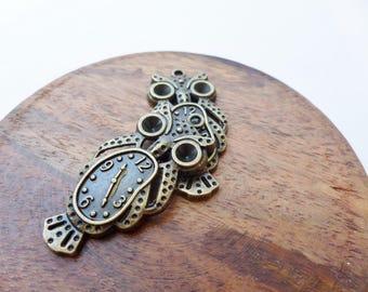 Bronze Owl Melting Clock Pendant Charm Single or Bulk