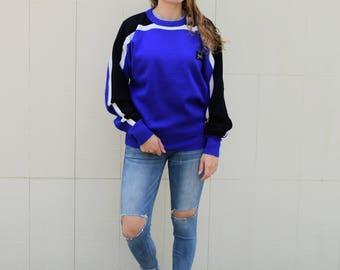 1980s Slalom Ski Sweater, Vintage Ski Sweater, Winter Sports Sweater, Blue Black White Stripe Wool Blend Sweater