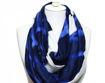 Navy White Cobalt Blue So Soft Oversized Raw Edge Printed Spring Summer Man Woman Fashion Accessory Women Men Scarves Gift Ideas For Her Him