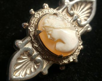 Vintage Victorian Revival Cameo Brooch. Detailed and delicate.