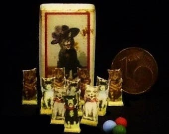 Vintage Bowling Game - McLoughlins Pussy Cat Ten Pins - Artisan Handmade Miniature 1:12 scale