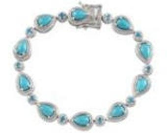Natural Arizona Sleeping Beauty Turquoise (Pear), Malgache Neon Apatite Bracelet Sterling Silver Nickel Free (7.25 in) TGW 7.27 Cts.