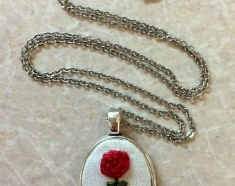 Rose Embroidery Necklace