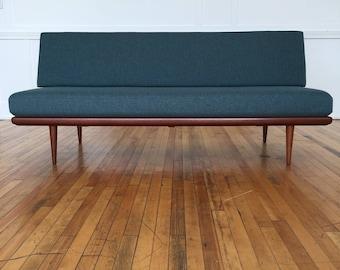 Mid Century Danish Teak Minerva Sofa Bed by Peter Hvidt and Orla Molgaard-Nielsen for France & Daverkosen in Svensson Wool