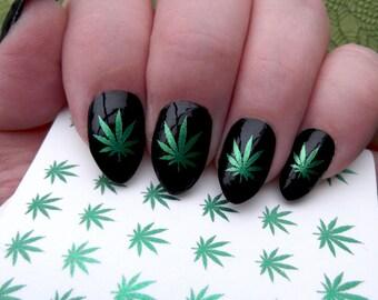 Pot leaf nail art etsy green metallic pot leaves nail art ptm symbols pot leaf marijuana waterslide transfer decals prinsesfo Gallery