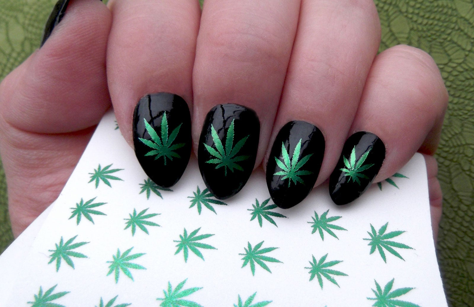 Green metallic pot leaves nail art ptm symbols pot leaf description 30 nail decals green metallic pot leaves prinsesfo Gallery
