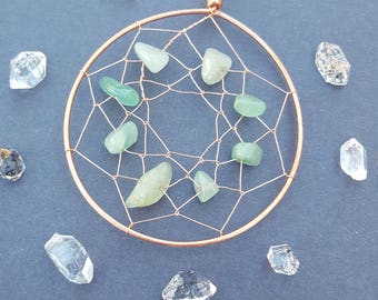 Dream Catcher Wall Hanging, Nursery Dream Catcher, Crystal Dreamcather, Wire Dreamcather, Green Aventurine, Spiritual Gifts, Crystal Healing
