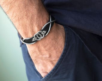 Men's Bracelet - Men's Leather Bracelet - Men's infinity Bracelet - Men's Jewelry - Men's Gift - Boyfriend Gift - Husband Gift - Male