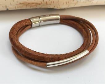 Tan Multi Strand Leather Bracelet, Antique Silver Magnetic Clasp, Leather Bangle, Unisex, Silver Tube Bead Leather Bangle