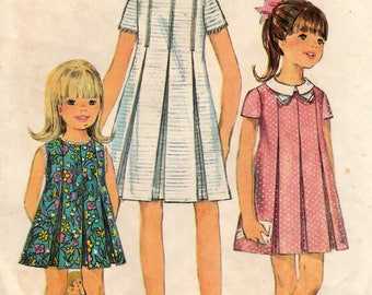Simplicity 7035 Sewing Pattern, Girls' One Piece Dress with Front Inverted Pleats, Girls Size 6, Bust 24, Cut Vintage Pattern