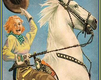 Houston Rodeo Cowboy Cowgirl  Rodeo 18x24 Vintage Print