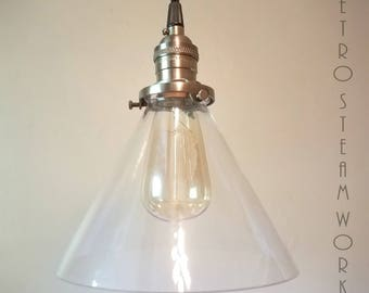 Ceiling Pendant Light  - Hand Aged Brass Finish and Glass Cone Shade Hanging Loft Lamp - Hand Made