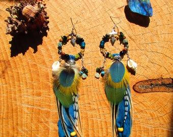 Ethnic hoop earrings, sari, Opal Parrot feathers