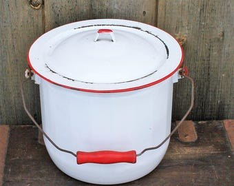 Enamelware Chamber Pot With Lid,  Vintage White With Red Trim Enamelware Bucket