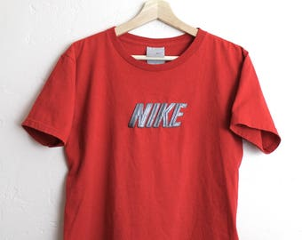 90s Vintage Nike T-shirt Retro NIKE Crop Top 90s Nike Red Tee Womans Size Small/XS