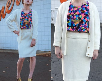 1980s Ivory Knit Sweater Set // St. John-style Two Piece Outfit Cardigan & Knit Pencil Skirt sz S / M