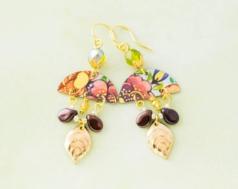 Floral Half Circle Vintage Tin Earrings with Green Glass Beads, Gold Leaf Charms and Eggplant Purple Drop Beads, Boho Chic Jewelry