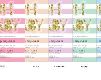 OH BABY! Baby Shower Invitation - Gold Glitter & Stripes Baby Shower - Pick your color!