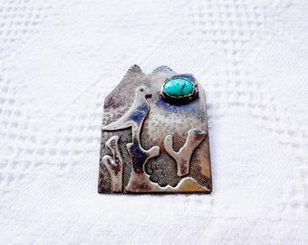 Vintage Southwest Silver and Turquoise Bird Pin Brooch