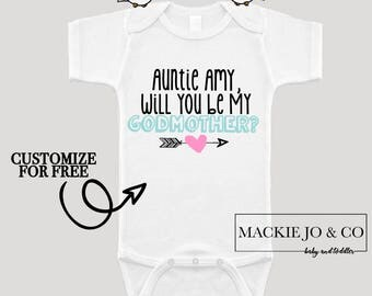 Will You Be My Godmother Boho with Arrows CUSTOMIZE NAME and Font Color Bodysuit Aunt