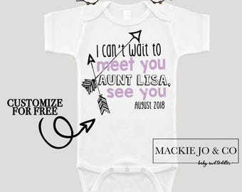 I can't wait to meet you AUNT Future Aunt Baby Bodysuit Customize Color and Date Baby Announcement