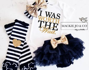 I Was Worth the Wait Coming home Set Custom Name Gold Glitter with Heart Gold headband and  Legwarmer Set Birth Announcement Bodysuit