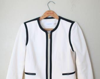 vintage calvin klein creamy white and black gold zip up cropped blazer jacket